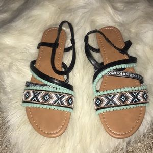 Black and teal tribal sandals US Size 9